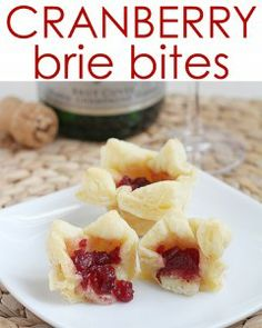 Cranberry Brie Bites-- delicious and only 3 ingredients!  Perfect for a holiday party!