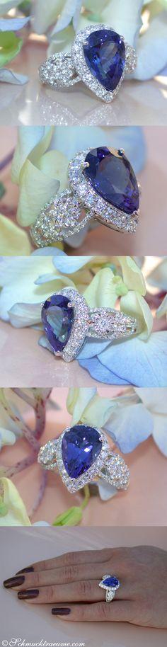 Feminine AAA Tanzanite Ring with Diamonds | 5.20 ct. | WG-18k - schmucktraeume.com Like: https://www.facebook.com/Noble-Juwelen-150871984924926/