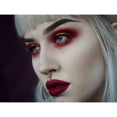 Red make up turns me on. I dig it Grunge Makeup, Goth Makeup, Dark Makeup, Skin Makeup, Makeup Art, Beauty Makeup, Makeup Goals, Makeup Inspo, Makeup Inspiration