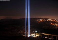 A light show in tribute to New York City on the eve of the anniversary of the 11 September 2001 attacks, at the living memorial plaza on a hill overlooking Jerusalem. Greece People, 11 September 2001, Category 5 Hurricane, Military Coup, Bus Travel, Lest We Forget, Pope Francis, Sunshine Coast, National Forest