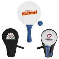 """Have some beach or picnic fun with this outdoor paddle game. Includes 2 wooden paddles, a rubber ball and comes in a carrying case. Imprint is a one color logo on the carrying case. Optional imprint is on one paddle.  13"""" H"""