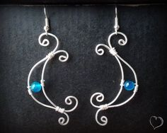 Handmade Silver Wire Earrings with Blue Agate Beads by CatArtistic