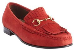 $490, Red Suede Tassel Loafers: Gucci Red Suede Tassel Detail Slip On Loafers. Sold by Bluefly. Click for more info: https://lookastic.com/women/shop_items/82015/redirect