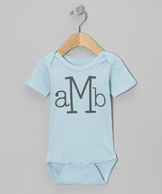 Take a look at this Blue Typewriter Monogram Bodysuit - Infant by Sweet Blessings on #zulily today!
