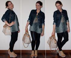 Passo a passo do look do dia. Dicas de o que vestir para viajar de avião: legging, estampa de cobra, tricot, jaqueta jeans, anabela Santa Lolla e bolsa Louis Vuitton. Blog de moda