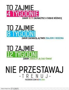 nie przestawaj- trenuj na Bądź Fit--->Dieta--->Trening--->FitnesSs - Zszywka. Work Motivation, Fitness Motivation, Personal Trainer Website, Motivational Quotes, Inspirational Quotes, Yoga Routine, Stay Fit, Bądź Fit, Excercise