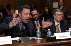 """Ben Affleck (L), actor, filmmaker and founder of the Eastern Congo Initiative, testifies next to Microsoft founder Bill Gates, co-chair of the Bill & Melinda Gates Foundation, before a Senate Appropriations State, Foreign Operations and Related Programs Subcommittee hearing on """"Diplomacy, Development, and National Security"""" on Capitol Hill in Washington March 26, 2015. REUTERS/Yuri Gripas"""