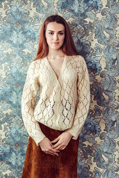 Cardigan en laine Vintage handknited cardigan par byLouisaClothing
