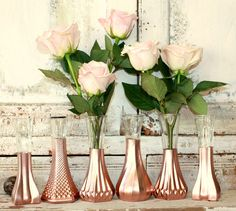 Rose Gold vases, gold wedding decor,  Set of 6 rose gold dipped vases and, gold painted vase, rose gold wedding table decor by thepaisleymoon on Etsy https://www.etsy.com/listing/254667274/rose-gold-vases-gold-wedding-decor-set