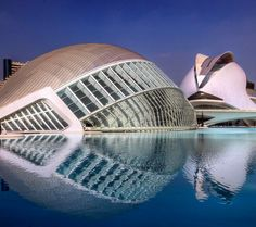 The City of Arts and Sciences in Valencia Spain is a collection of buildings on the dry riverbed of the river Turia. The river was rerouted around the city after a terrible flood in 1957.  Construction on the project began in 1996 after most of the structures were designed by Valencian architect Santiago Calatrava. The structure includes an opera house a planetarium an aquarium a science museum a bridge and a venue for sporting events and concerts.  The opera house shown in the back right…