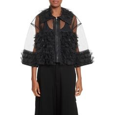 Women's Noir Kei Ninomiya Frilled Tulle Blouse (2.410 NOK) ❤ liked on Polyvore featuring tops, blouses, black, transparent blouse, frill blouse, crop top, zip blouse and flutter-sleeve top