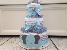 Chevron Elephant Baby Diaper Cake - Blue on Etsy, $45.00