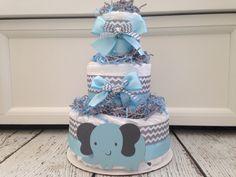 Chevron Elephant Baby Diaper Cake - Blue on Etsy, $45.00