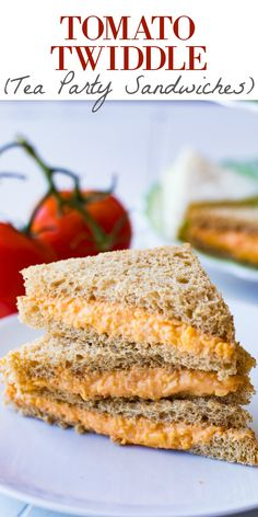 Tomato Twiddle (Tea Party Sandwiches) - Tomato Twiddle (Tea Party Sandwiches) This Tomato Twiddle recipe is perfect as a tea party sandwich. Easy to make, only 3 ingredients, and so flavorful! Get ready to meet your new favorite sandwich! Mini Sandwiches, English Tea Sandwiches, Party Finger Sandwiches, Vegan Sandwiches, Breakfast Sandwiches, Subway Sandwich, Sandwich Fillings, Sandwich Platter, Le Diner