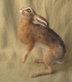 Needle Felted Hare wildlife soft sculpture made to by Ainigmati