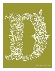 Henna Alphabet Letter D via Lydia Lark Quilling Craft, Paper Quilling, Kirigami, Paper Cut Design, Embroidery Alphabet, Paper Lace, Letter D, Parchment Craft, Chalkboard Wedding