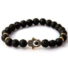 Beaded Bracelet Yoga Jewelry Gold Color Buddha Leo Lion Head Bracelet Black Lava Stone Tiger Eye Skull Charm Bracelet