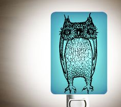 Big Owl Night light in Aqua Blue - Large Funny Owl by Happy Owl Glassworks - Fused Glass night light