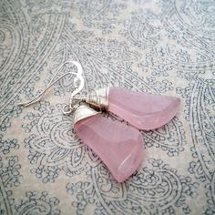 "Sterling Silver Wire Wrapped Pink Chalcedony Gemstone Earrings. Magnolia Jewel Designs, $48.00.  October is Breast Cancer Awareness Month! Use the Coupon Code ""PINK20"" at checkout for 20% off this and other pink items in my shop."