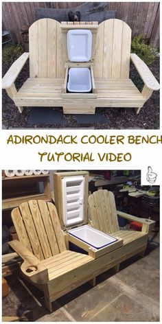 DIY outdoor seating projects tutorials & free plansDIY Outdoor Seating Projects Tutorials - Instructions for the DIY Adirondack Cooler DIY outdoor projects to beautify your garden - the wooden DIY outdoor projects to Modern Outdoor Chairs, Diy Outdoor Furniture, Outdoor Seating, Rustic Furniture, Diy Furniture, Outdoor Lounge, Outdoor Cooler, Inexpensive Furniture, Furniture Logo