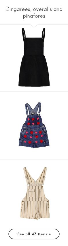 """""""Dingarees, overalls and pinafores"""" by proserpinawitch ❤ liked on Polyvore featuring dresses, skirts, overalls, vestidos, shorts, bottoms, jumpsuits, rompers, playsuits and playsuit romper"""