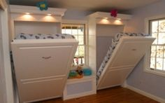 Instead of bunk beds, opt for space-saving murphy beds in a kids' room or guest room. Instead of bunk beds, opt for space-saving murphy beds in a kids' room or guest room. Home Bedroom, Kids Bedroom, Bedroom Ideas, Kids Rooms, Bedroom Decor, Bedroom Colors, Sibling Bedroom, Bedroom Furniture, Extra Bedroom