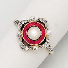 Antique Pearl, Ruby, Diamond, Platinum and 18K Gold Ring, circa 1905