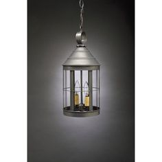 Northeast Lantern Heal 2 Light Outdoor Hanging Lantern Finish: Dark Brass, Shade Type: Clear