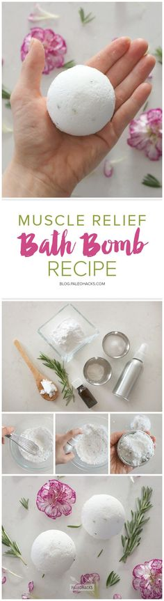 A better-than-store-bought bath bomb with ingredients to soothe and relax aching muscles. Get the recipe here: http://paleo.co/musclebathbomb
