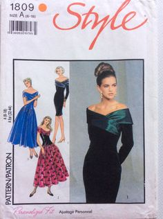 1990s off the shoulder evening dress Style 1809 Uncut sewing pattern Multi size Bust 30.5 - 40 Waist 23 - 32 Hip - 32.5 - 42 Retro 90s style by 101VintagePatterns on Etsy