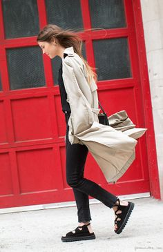 Spring style; Zara trench, Céline sandals, Zara jeans, Céline bag,