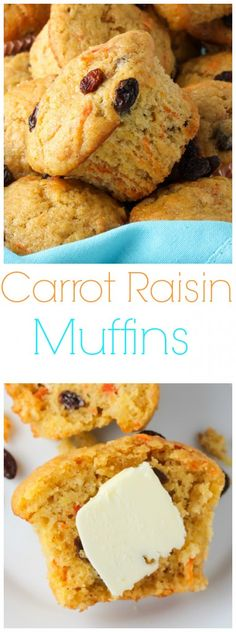 Soft and fluffy, these simple muffins taste like moist carrot cake spiked with juicy raisins and a pop of cinnamon… perfect for breakfast!