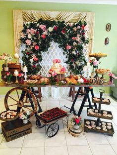 Gorgeous dessert table at a rustic garden bridal shower! See more party ideas at CatchMyParty.com!