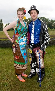 High school student creates duct tape dress, tux for prom - Mother Nature and Father Time