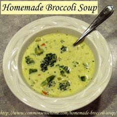 Homemade broccoli soup recipe made with chicken broth, fresh veggies, cream and spices.