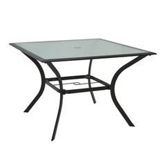Garden Treasures Eastmoreland 40 In X 40 In Glass Top Textured Brown  Steel Frame Square Patio Dining Table 79
