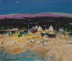 Scottish Artist Hamish MacDONALD - Shoreline Sheep and Crofts