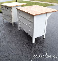 Here's a cool idea for transforming old dressers into kitchen islands.  I love the added overhang.  Add a towel bar or some hooks for even more storage capacity. -- The Kitchen Islands are Done!: Traerloves.
