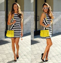 Clothes Envy Stripe Mini Dress, Choies Clear Wedge Heels, Yellow Bag, Target White Sunnies