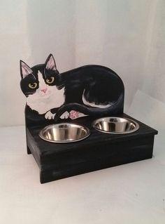 Tuxedo Cat Food Bowl Feeder Handmade Painted by KittyCatStudio