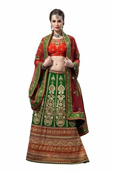 $265.46 Green Art Silk Bridal Lehenga 20937 With Unstitched Blouse