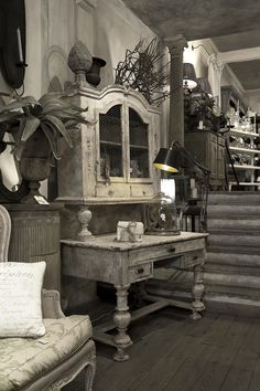 painted furniture, French grey and white decor
