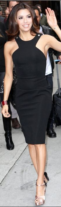 Who made Eva Longoria's black dress and two tone satin sandals that she wore in New York?