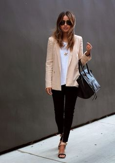 nude blazer, white tee, black jeans, celine bag & two-tone sandals #style #fashion #sincerelyjules #workwear #workstyle