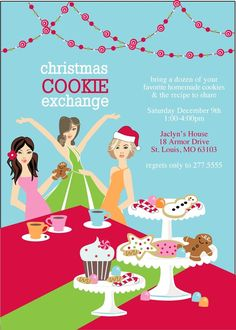 Exclusive FACES COLLECTION Friends Christmas Holiday Cookie Exchange or Swap Invitation