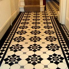 The Chic Technique: London Mosaic - Edwardian Period Reproduction Ceramic Tiled Hallway Tiled Hallway, Edwardian Hallway, Hallway Flooring, Tiles, Tile Floor, Victorian Hallway, Tiles Design For Hall, Tile Installation, Victorian Homes