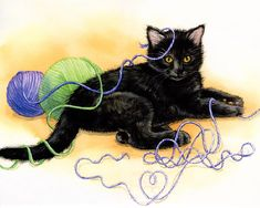 artist Jane Maday - reminds me of my own little black cat named Loustal, who died much too young (at the age of 14 months).