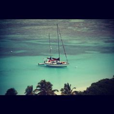 Our boat, Storyville, anchored at Culebrita, Spanish Virgin Islands.
