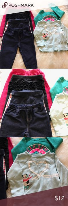 6 piece 9 month bundle All in great condition. Brand include Oshkosh, Carters, and baby Koala. Bottoms include 1 pair of jeggings and 1 pair of fleece bottoms. The light blue carters top has 1 very faint small stain. See last pic. Other