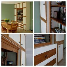 Oude boekenkast verwerkt in een nieuwe, moderne witte kast. Bookcase, Shelves, Modern, Home Decor, Shelving, Trendy Tree, Decoration Home, Room Decor, Bookcases